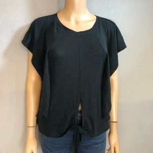 BCBG MaxAzria Linen T-Shirt Flutter Sleeve Tied